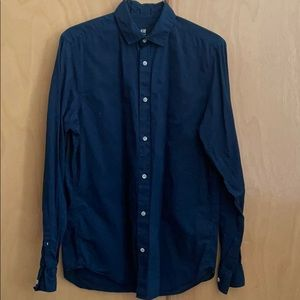 H&M Men's Navy Blue XS Button Up Regular Fit